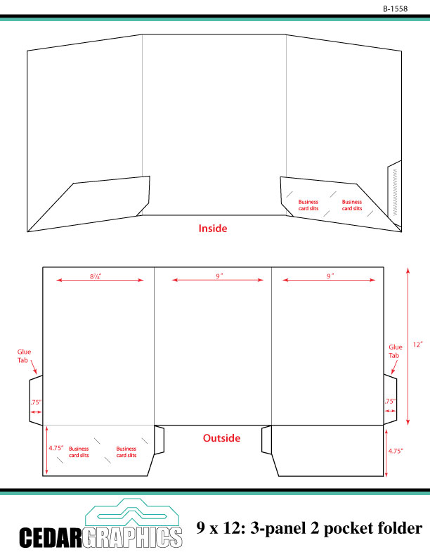 pocket folder template illustrator - how to plan a 9 x 12 three panel two pocket folder